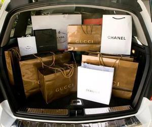 bags, gold, and shopping image