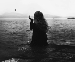 girl, black and white, and bird image