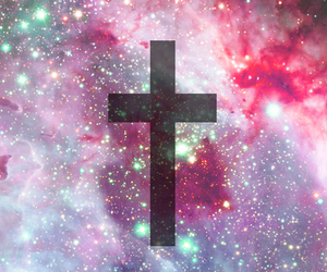 galaxy, cross, and space image