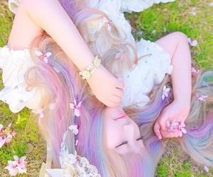 asian, rainbow hair, and awsome image