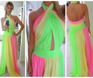 dress, neon, and pink image