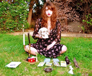 skull, tarot, and tarot cards image