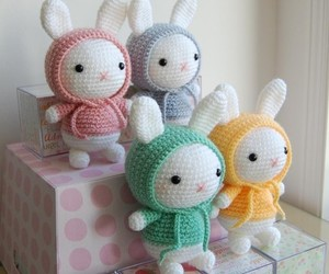 bunny, crochet, and pattern image