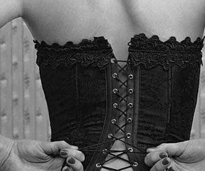 black and white, corset, and lace image