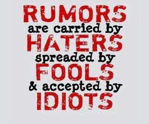 rumors, haters, and idiot image
