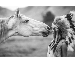 horse, indian, and black and white image