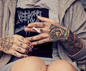 boy, cigarette, and tattoo image