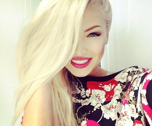 girl, blonde, and smile image