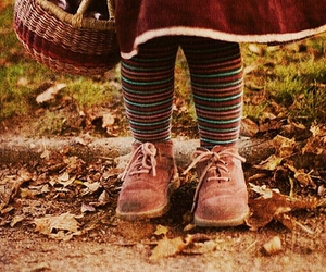 autumn, stripes socks, and child image