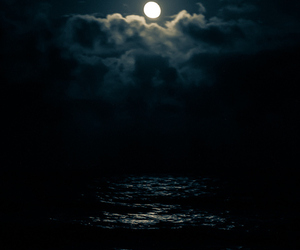 moon, water, and night image