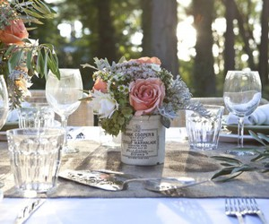 decor, flowers, and table image