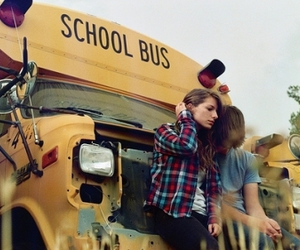 school bus and couple image