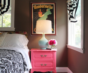 pink, bed, and decor image