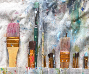 Brushes, paint, and colors image
