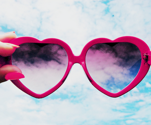 heart, sky, and sunglasses image
