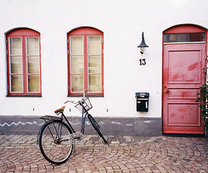 vintage, bike, and house image