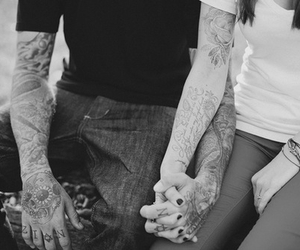 tattoo, couple, and black and white image