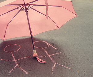 love, pink, and umbrella image