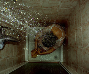 shower, water, and sad image