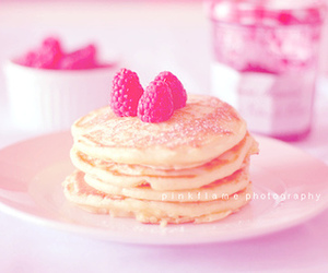 pancakes, pink, and breakfast image