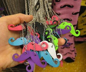 mustache, moustache, and necklace image