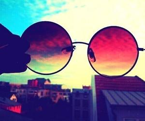 glasses, sky, and sunglasses image