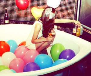 balloons, girl, and party image
