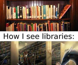 book, library, and fantasy image
