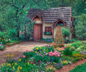 house, flowers, and cottage image