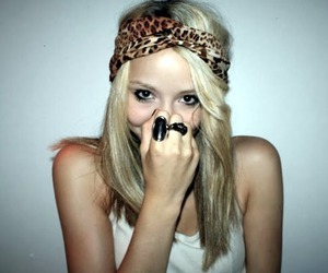 girl, blonde, and leopard image