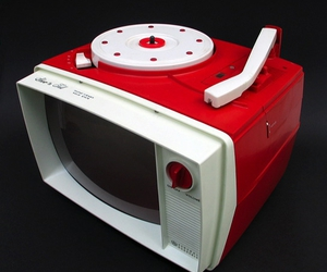 red and turntables music vinyl image