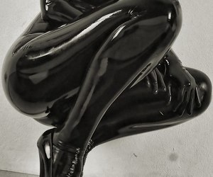 black, catsuit, and erotic image