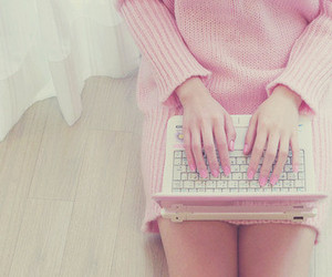pink, laptop, and computer image