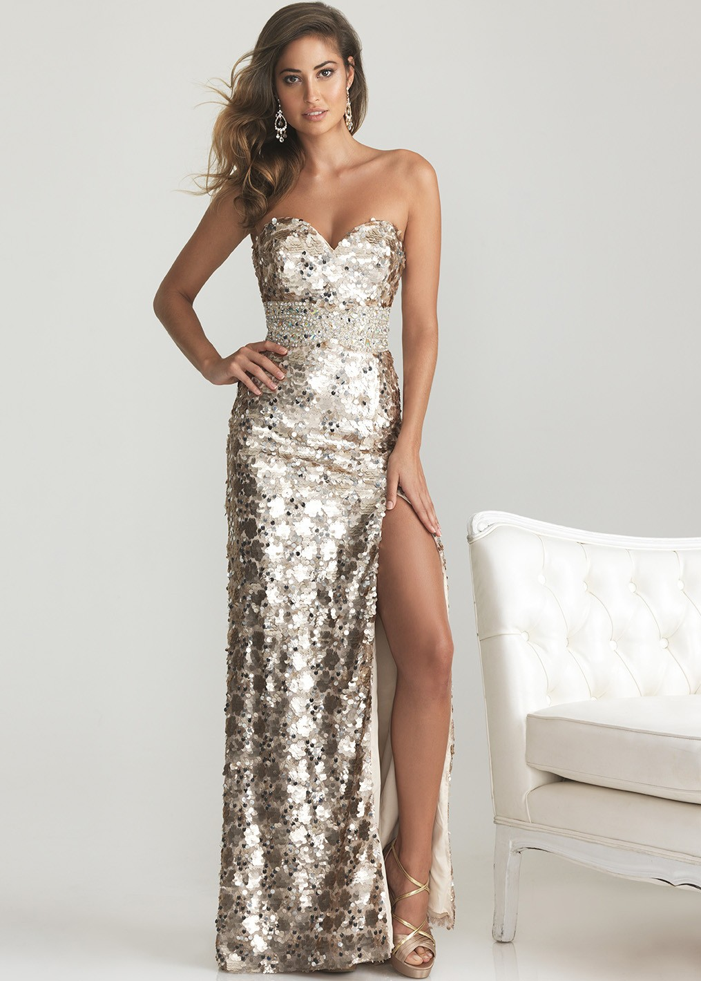 Night Moves 6755 - Light Gold Strapless Sequin Evening Gown, Prom ...