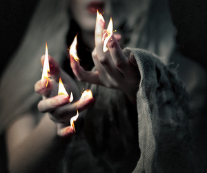 fire, magic, and witch image