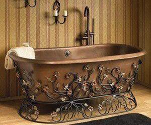 bath, bathtub, and copper image