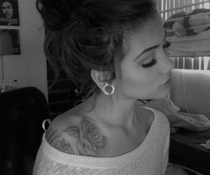 tattoo, girl, and black and white image