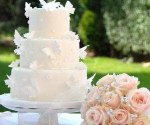 cake, white, and roses image