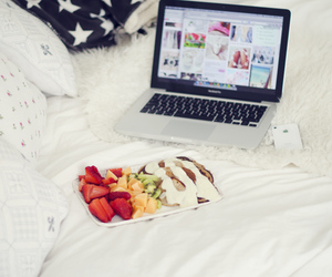 fruit, macbook, and bed image