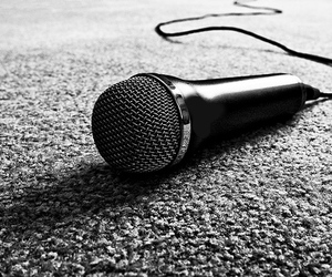 microphone, black and white, and sing image