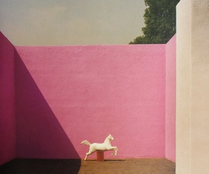horse, pink, and wall image