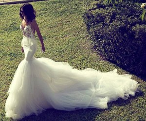 lace, mermaid, and wedding dress image