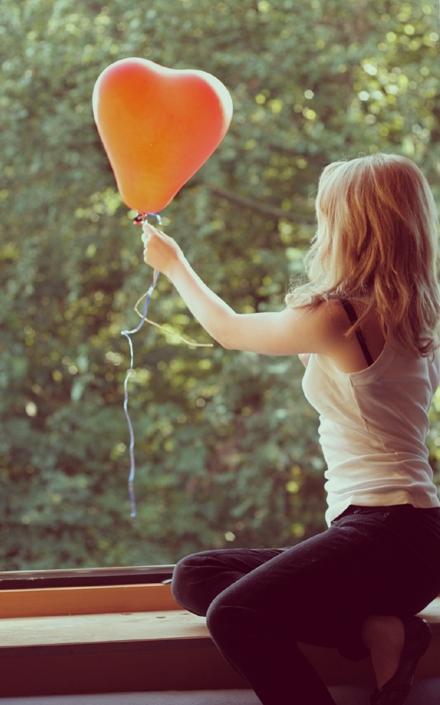 girl, heart, and balloon image