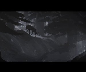 animation, hunter, and wolf image