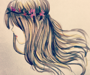 art, flower, and hairstyles image