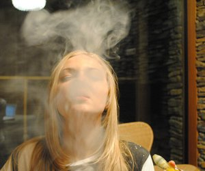 blonde, marijuana, and smoke image