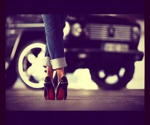girl, car, and shoes image