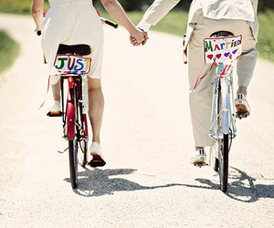 love, couple, and just married image