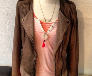 brown, lether jacket, and fashion image