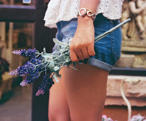 flowers, girl, and shorts image